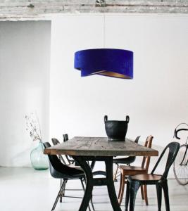 niebieska lampa welurowa